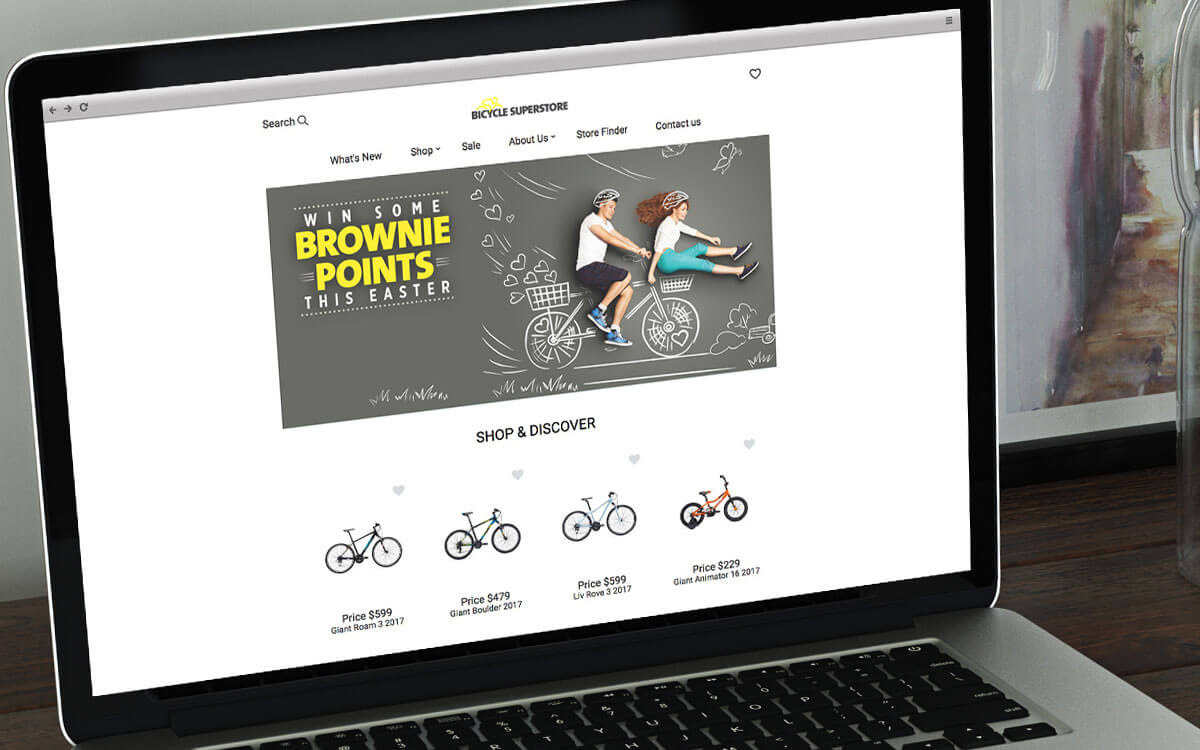 Website header design for Bicycle Super Store