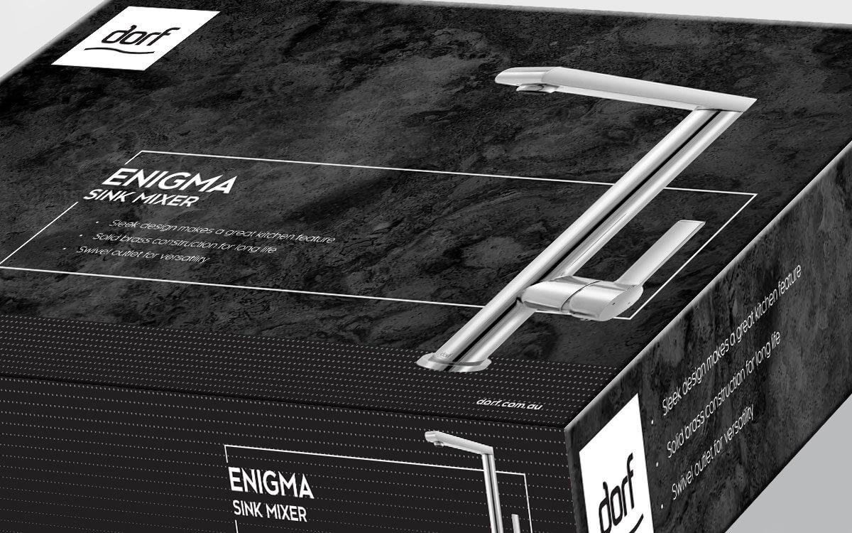 Dorf Enigma Sink Mixer packaging box