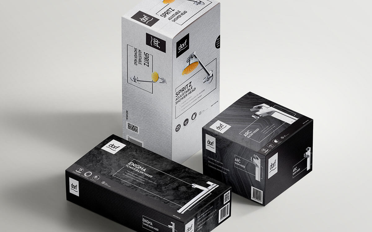 Range of Dorf tap mixer and showerhead packaging box designs