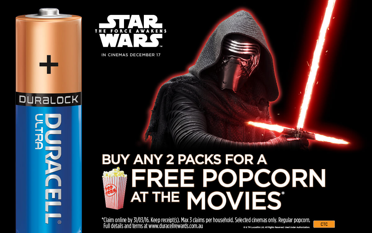 Duracell Star Wars battery promotion featuring Kylo Ren