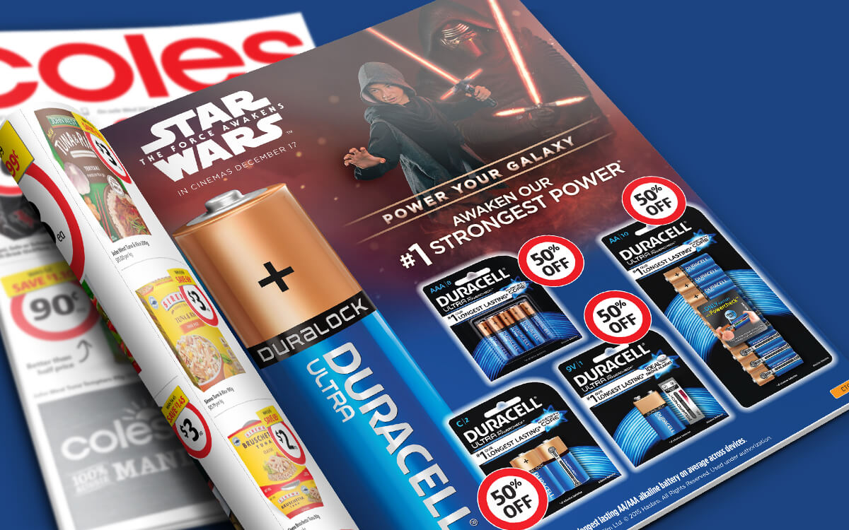 Coles catalogue page with Duracell Star Wars promotion