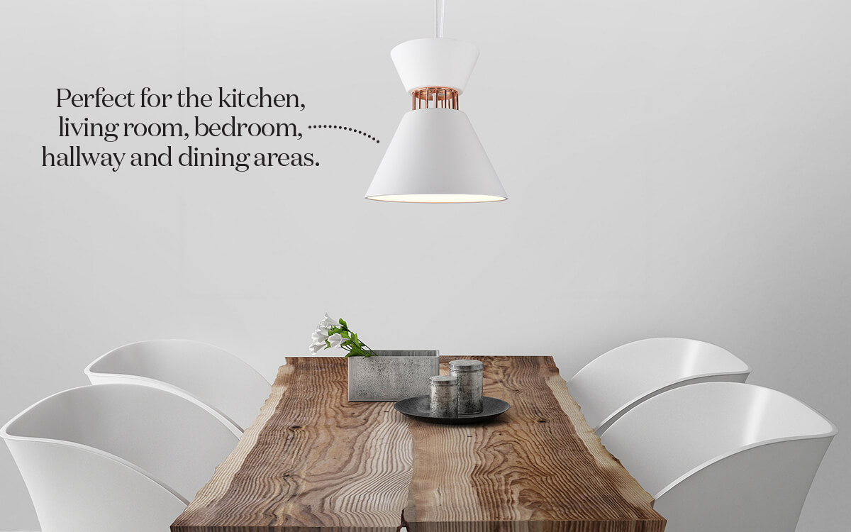 Beautiful light pendant modern scene with wooden table