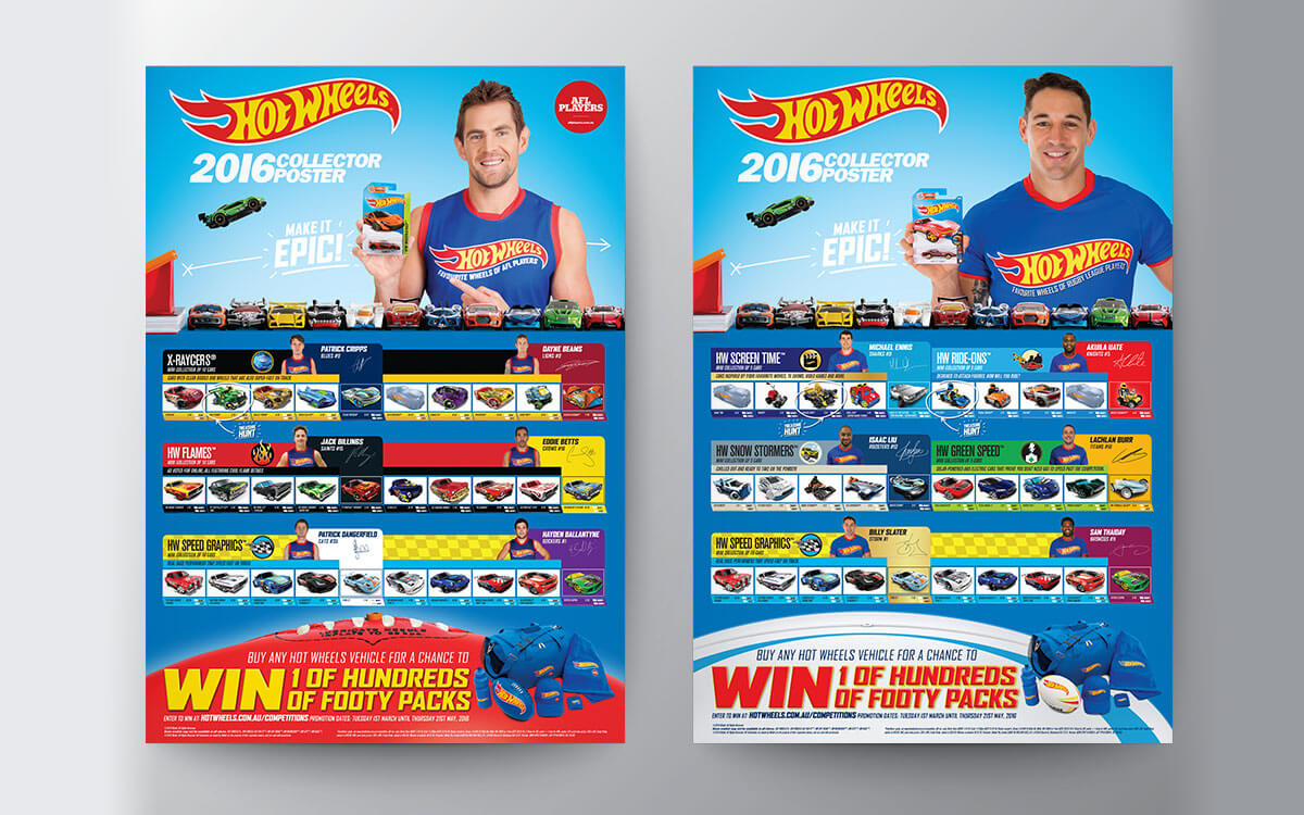 Hot Wheels poster featuring AFLs Luke Hodge and NRLs Billy Slater