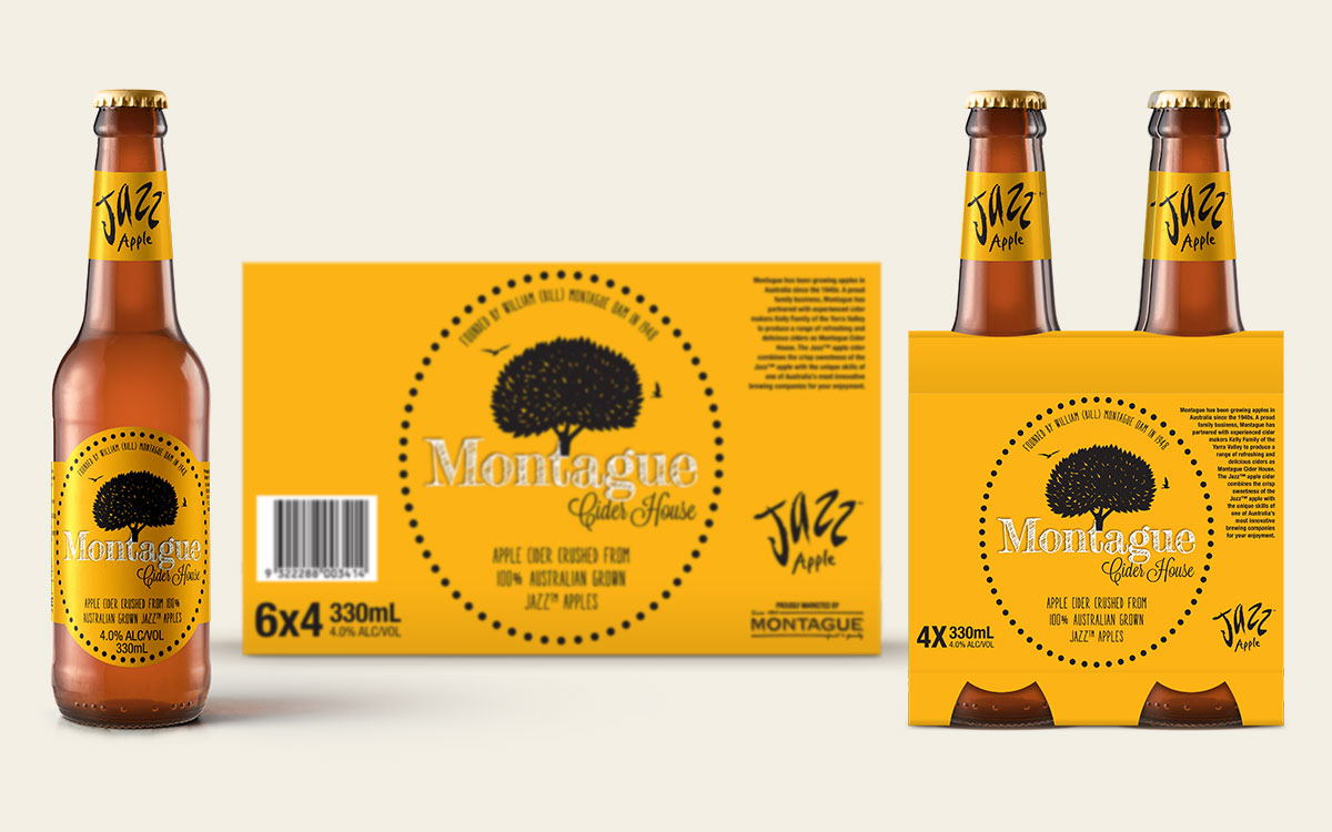 24 pack case design of apple cider for Montague
