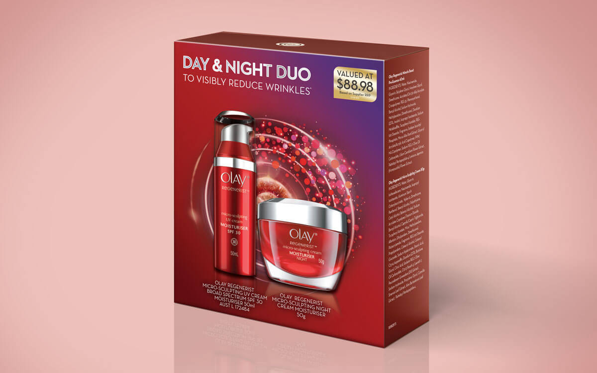 Package design for Olay Day & Night Duo