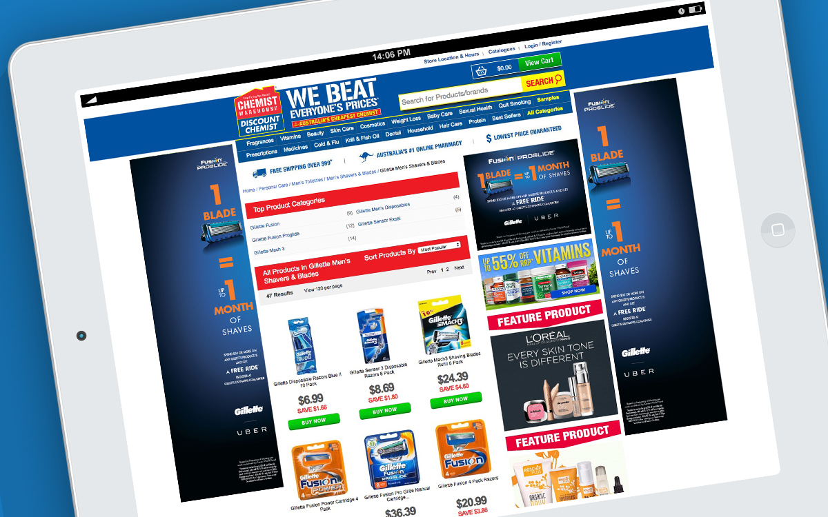 Chemist Warehouse webpage with MREC and feature fins