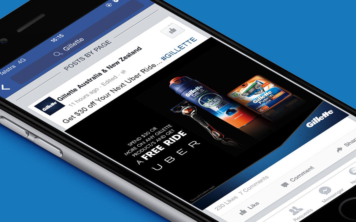 Gillette Uber promotion on Facebook social media post