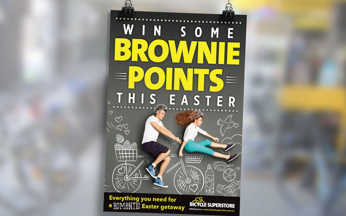 In-store bicycle poster for Easter campaign