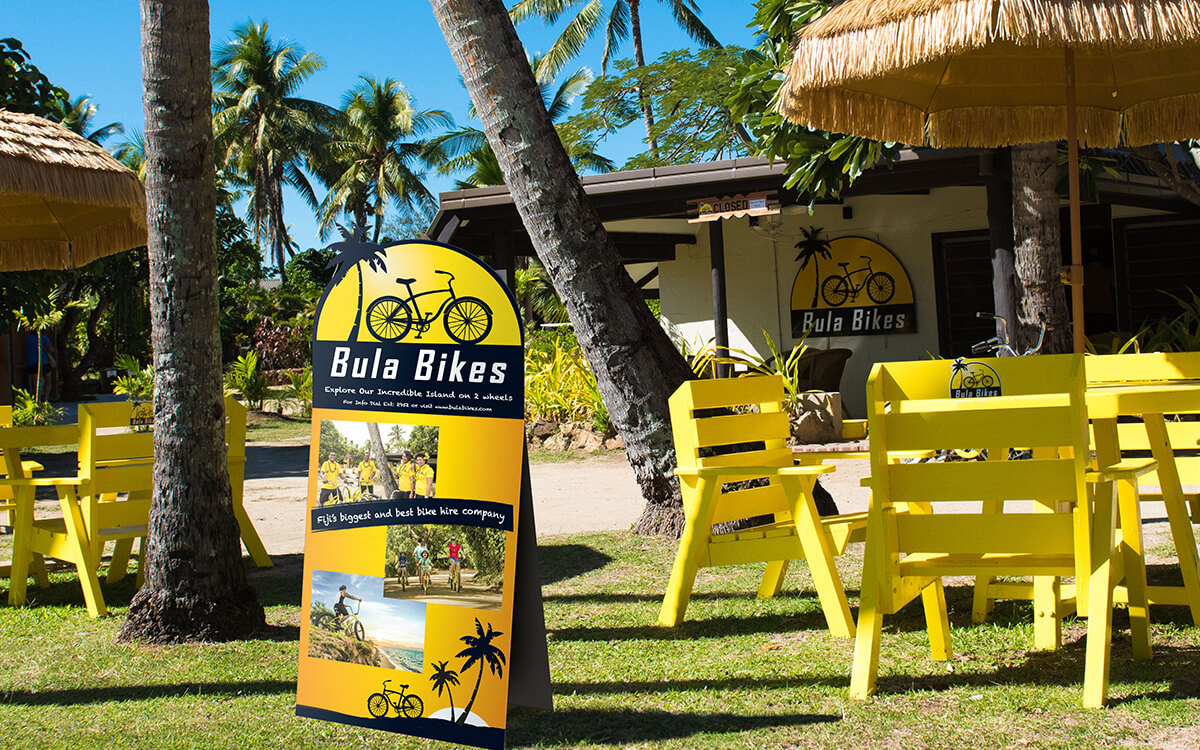 A-Frame unique outdoors design for Bula Bikes Fiji