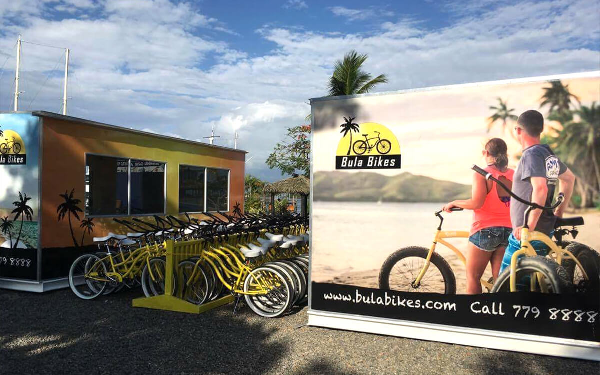 Bula Bikes Fiji exterior signage for shop