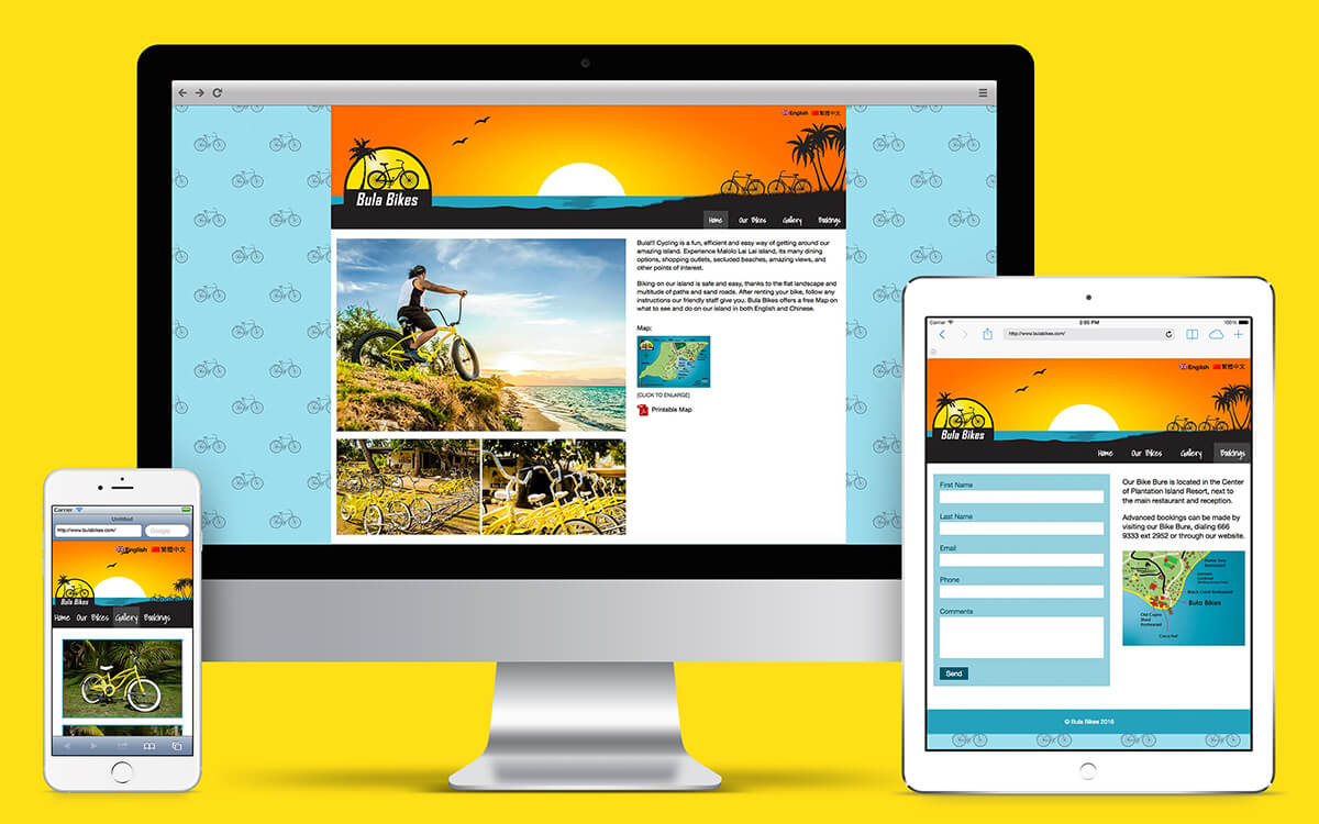 Mobile phone, tablet and desktop with Bula Bikes Fiji website