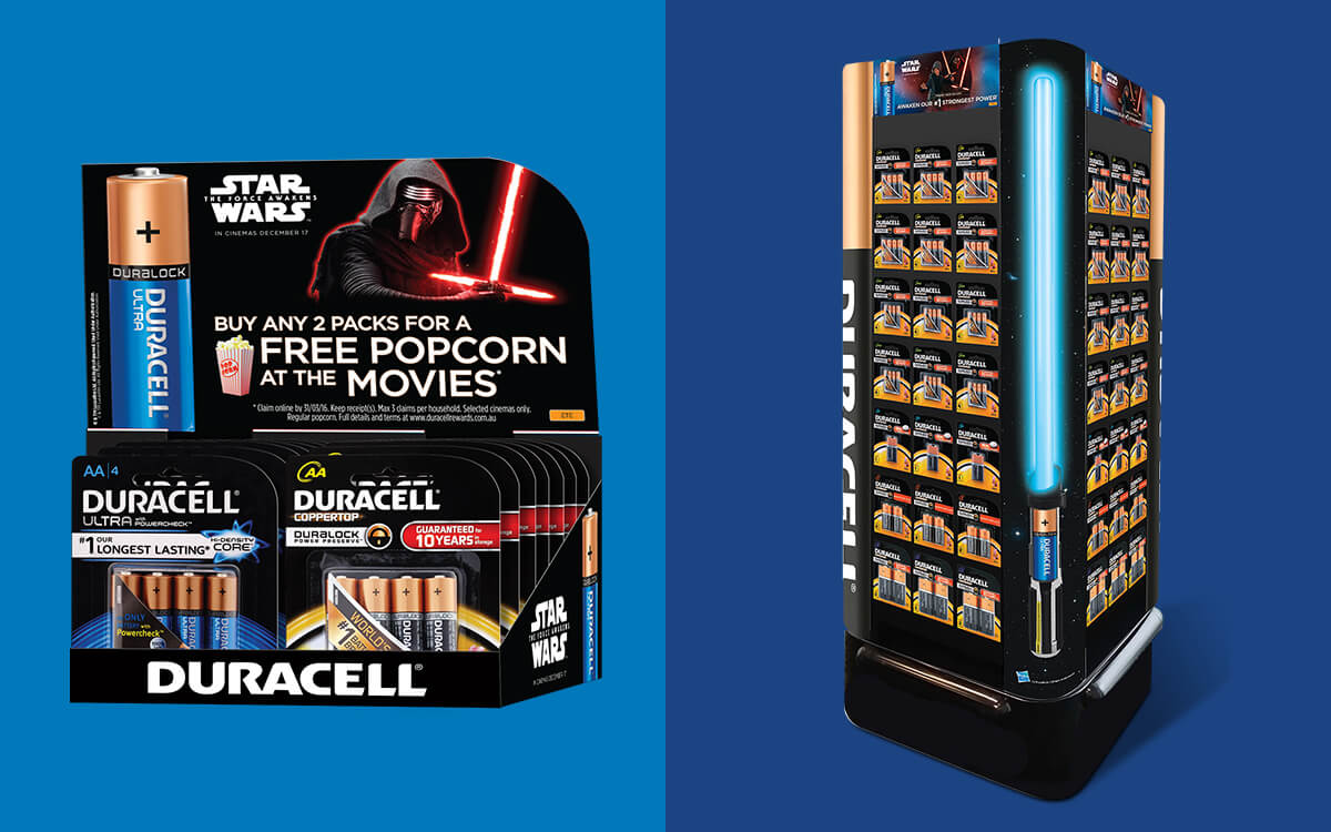 Counter unit for batteries and light sabre pallet display