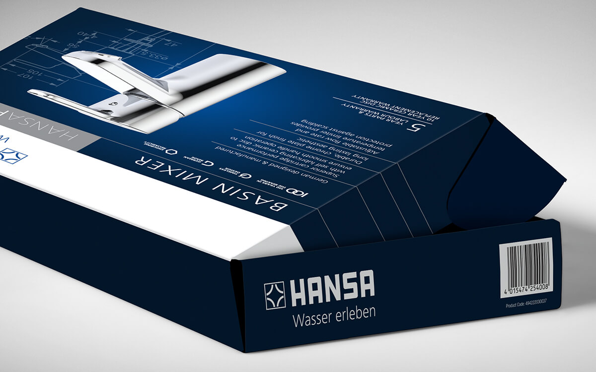 Opening box for Hansa Basin Mixer packaging design