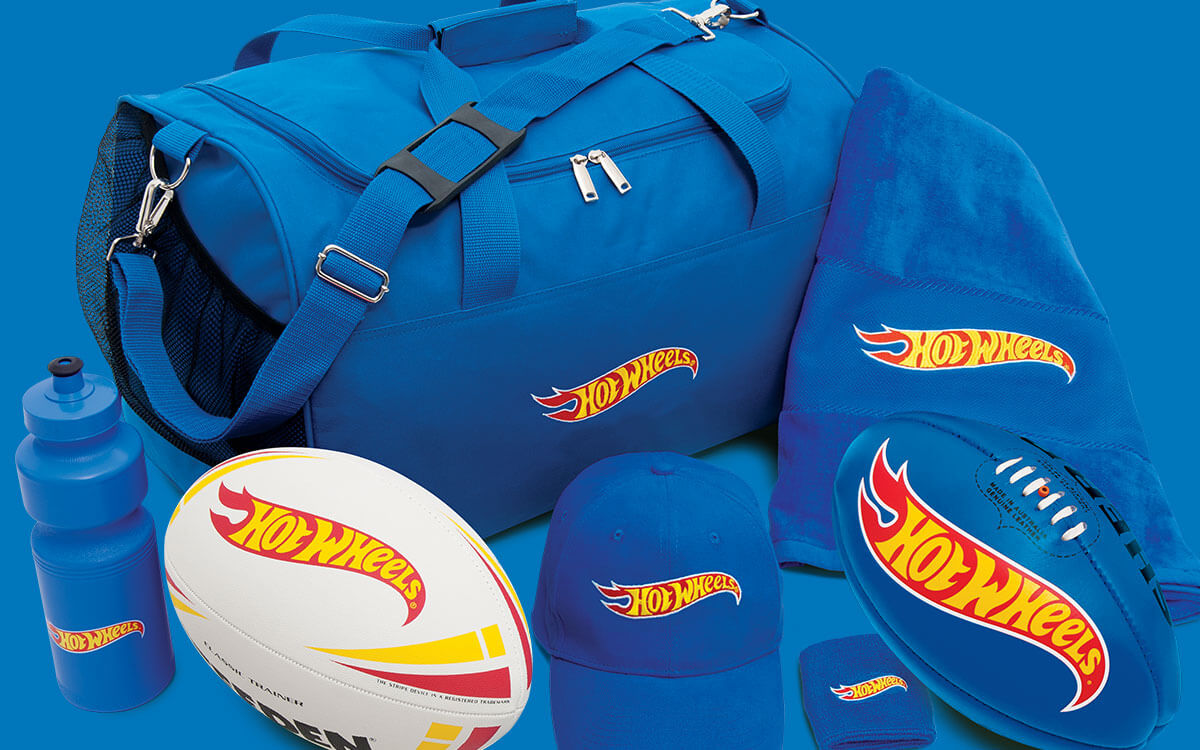 Hot Wheels prize pack with AFL football and NRL ball