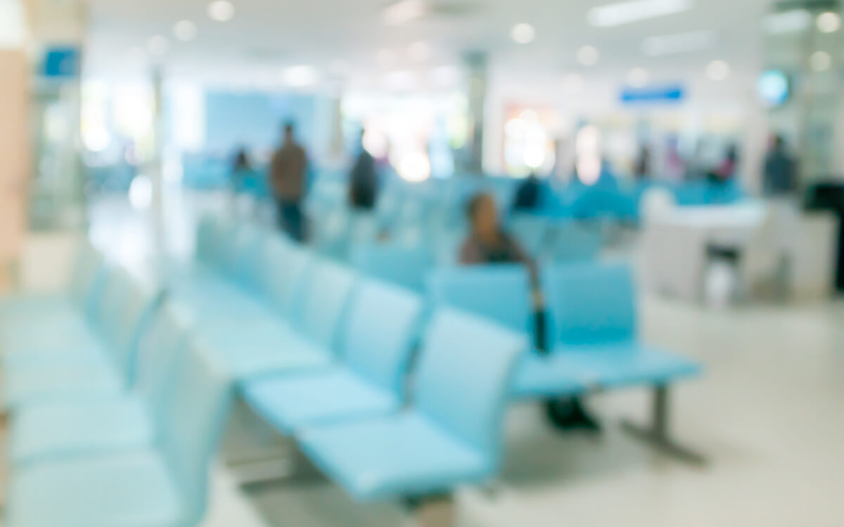 Blurred medical centre waiting room