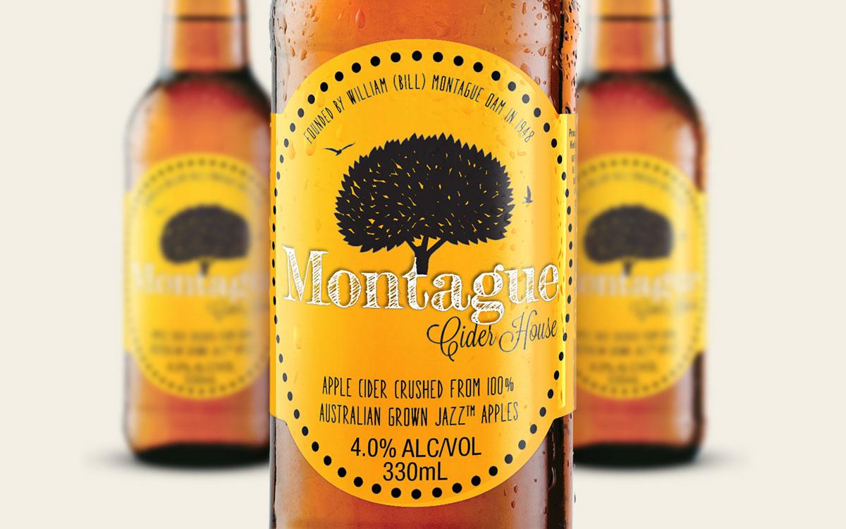 Closeup shot of design for apple cider bottle label