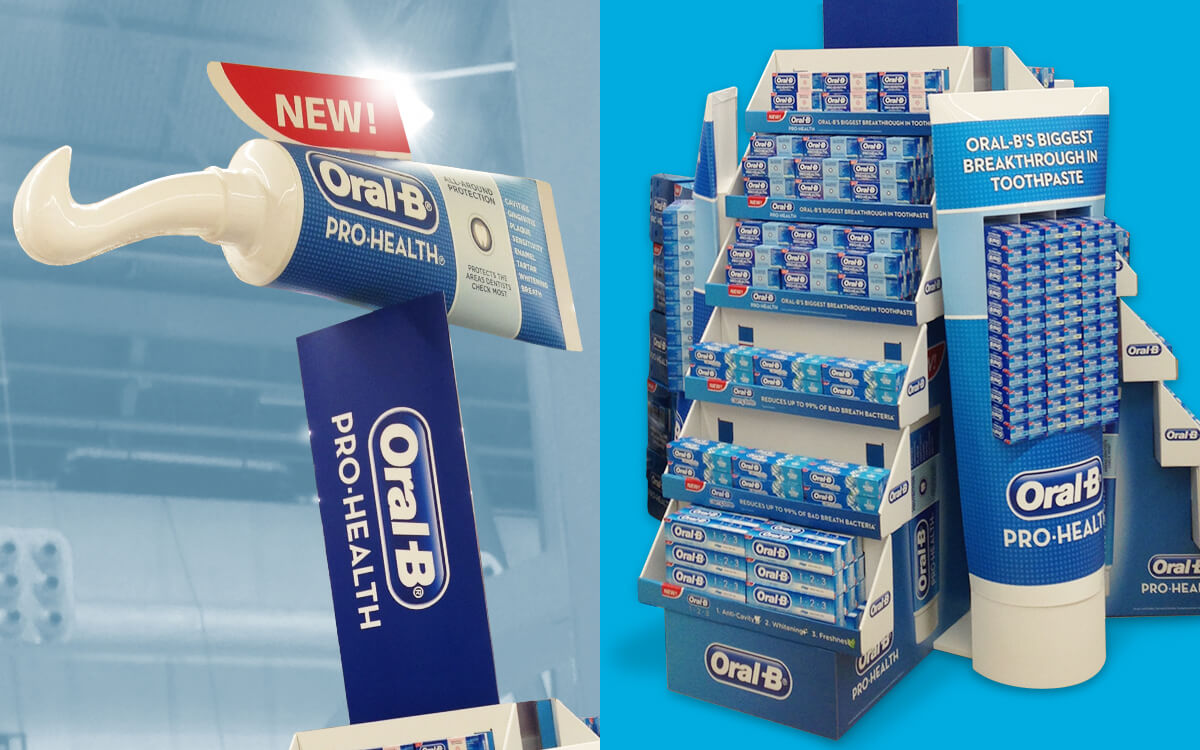 Electrical powered rotating display for Oral-B in-store