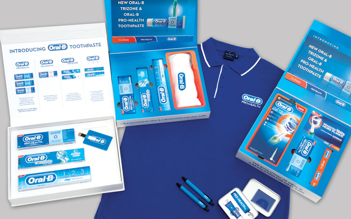 Merchandise gifts for participants in the Oral-B roadshow
