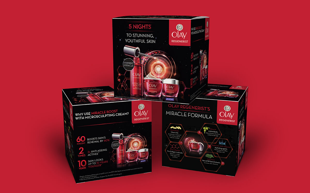POSM cube design for Olay Regenerist