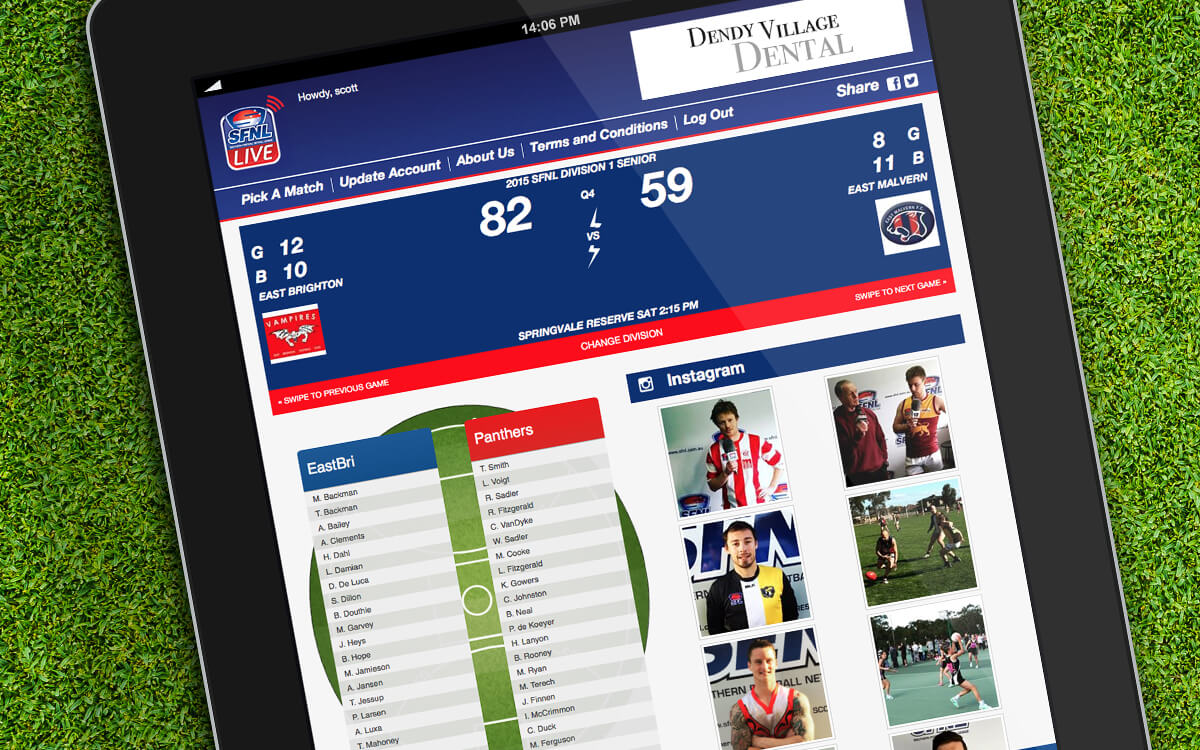 Live sports SFNL updates on iPad