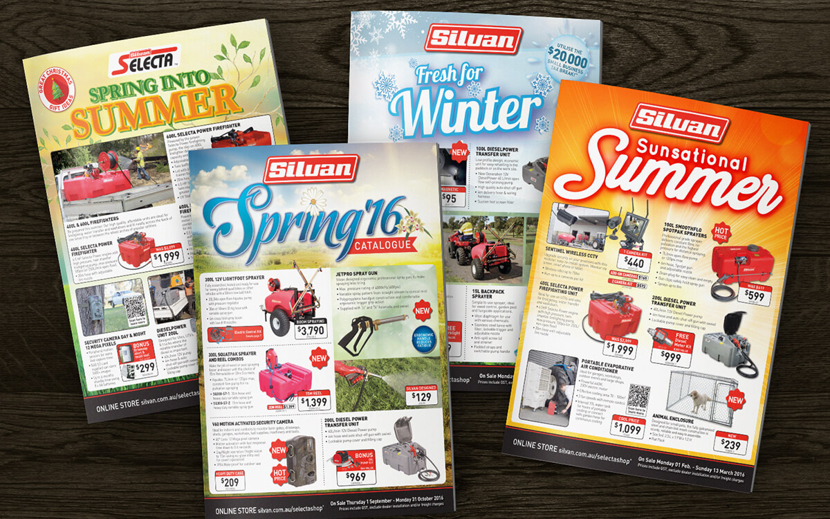 Seasonal catalogue designs for farm equipment