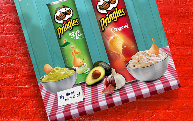 Closeup of Pringles poster for dipping in advocado