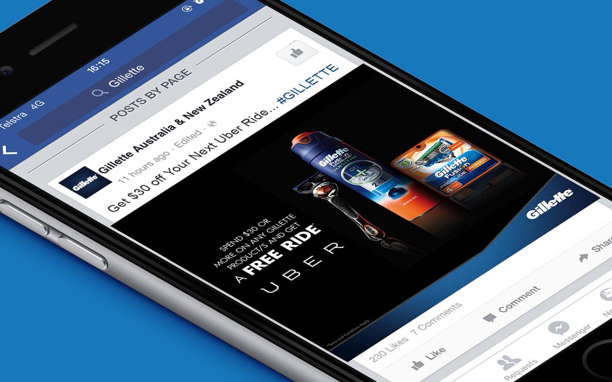 Gillette Uber promotion on Facebook social media post